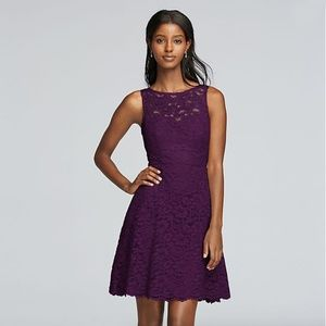 David's Bridal sleeveless lace plum dress 12
